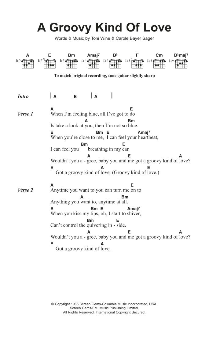 A Groovy Kind Of Love The Mindbenders Lyrics Chords
