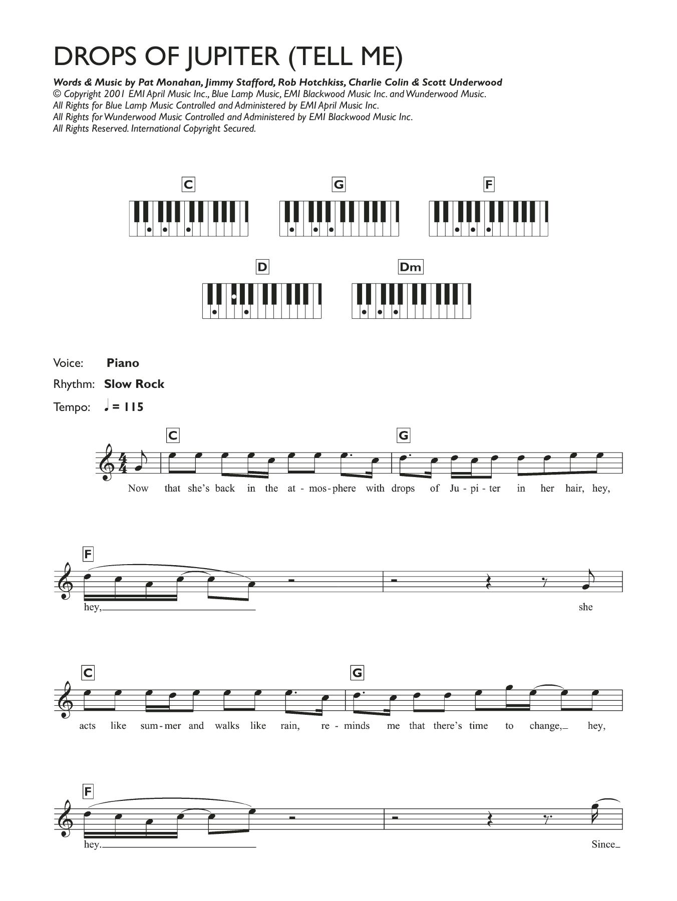 Drops Of Jupiter Tell Me Noten   Train   Klavier Akkorde/Texte