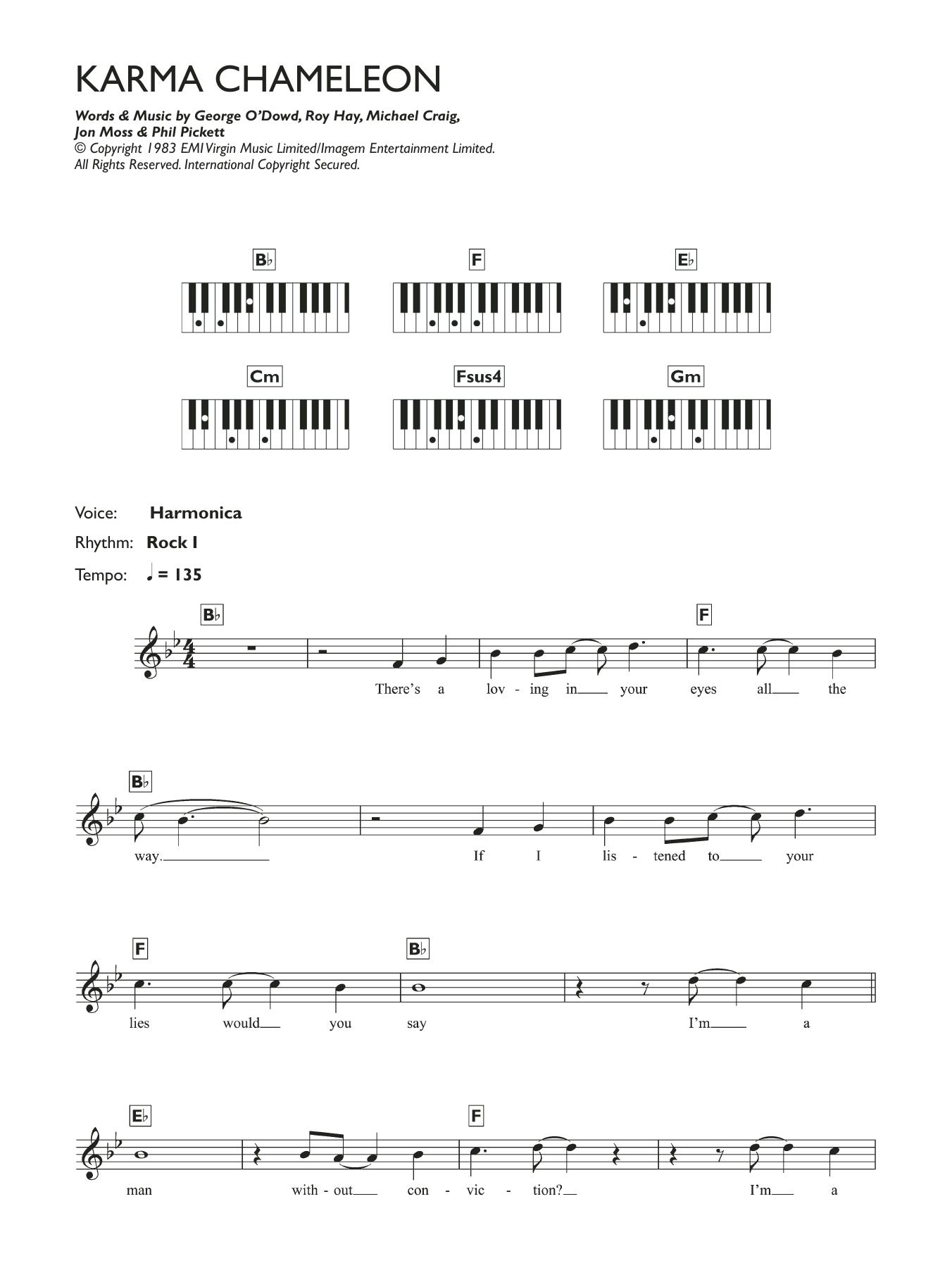 Karma Chameleon Sheet Music   Culture Club   Piano Chords/Lyrics