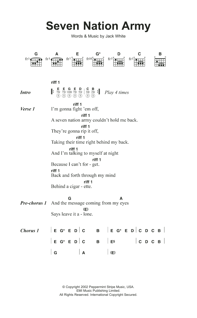 Seven Nation Army By The White Stripes Guitar Chords Lyrics Guitar Instructor