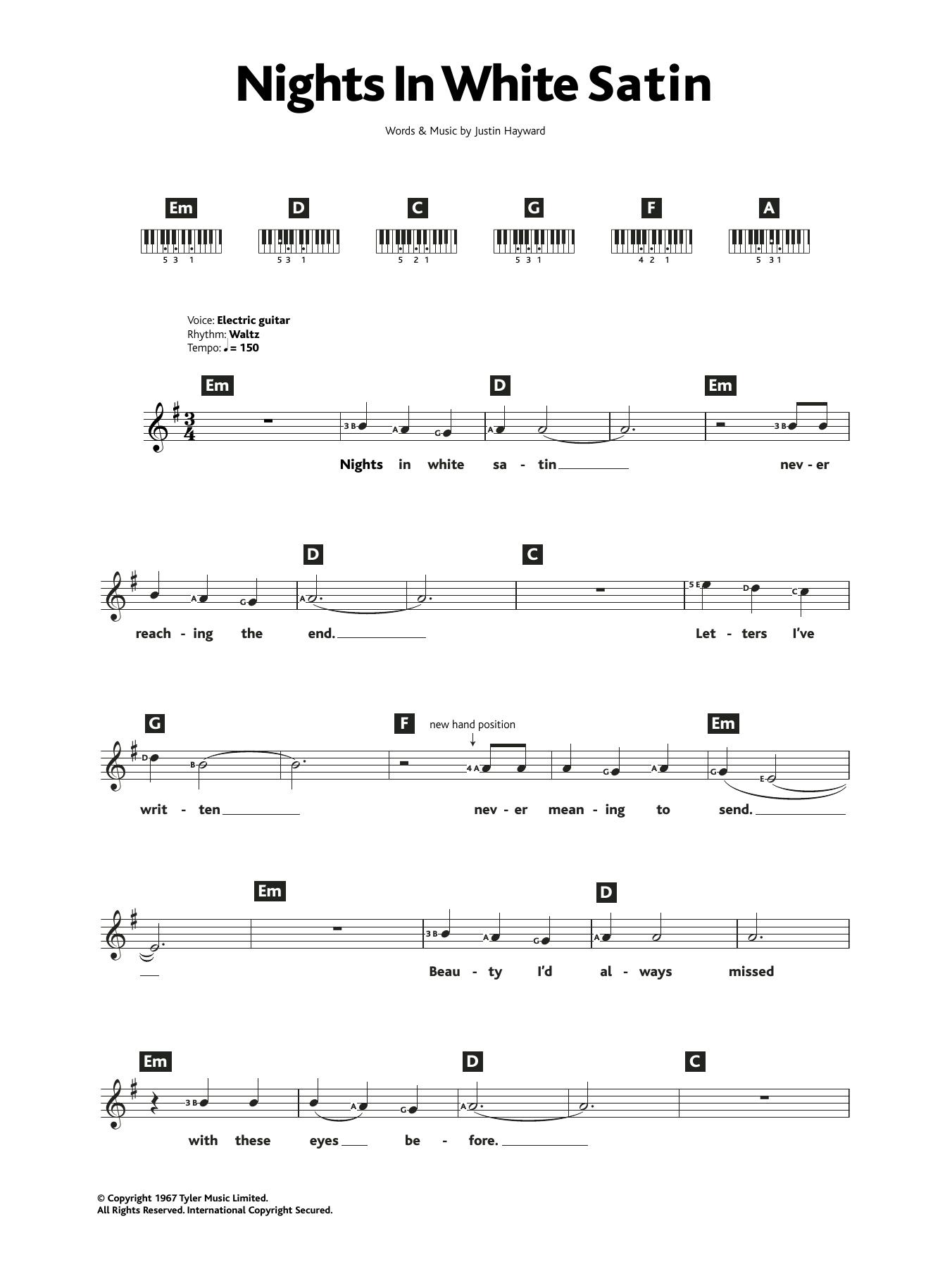 Nights In White Satin Sheet Music   The Moody Blues   Piano Chords/Lyrics