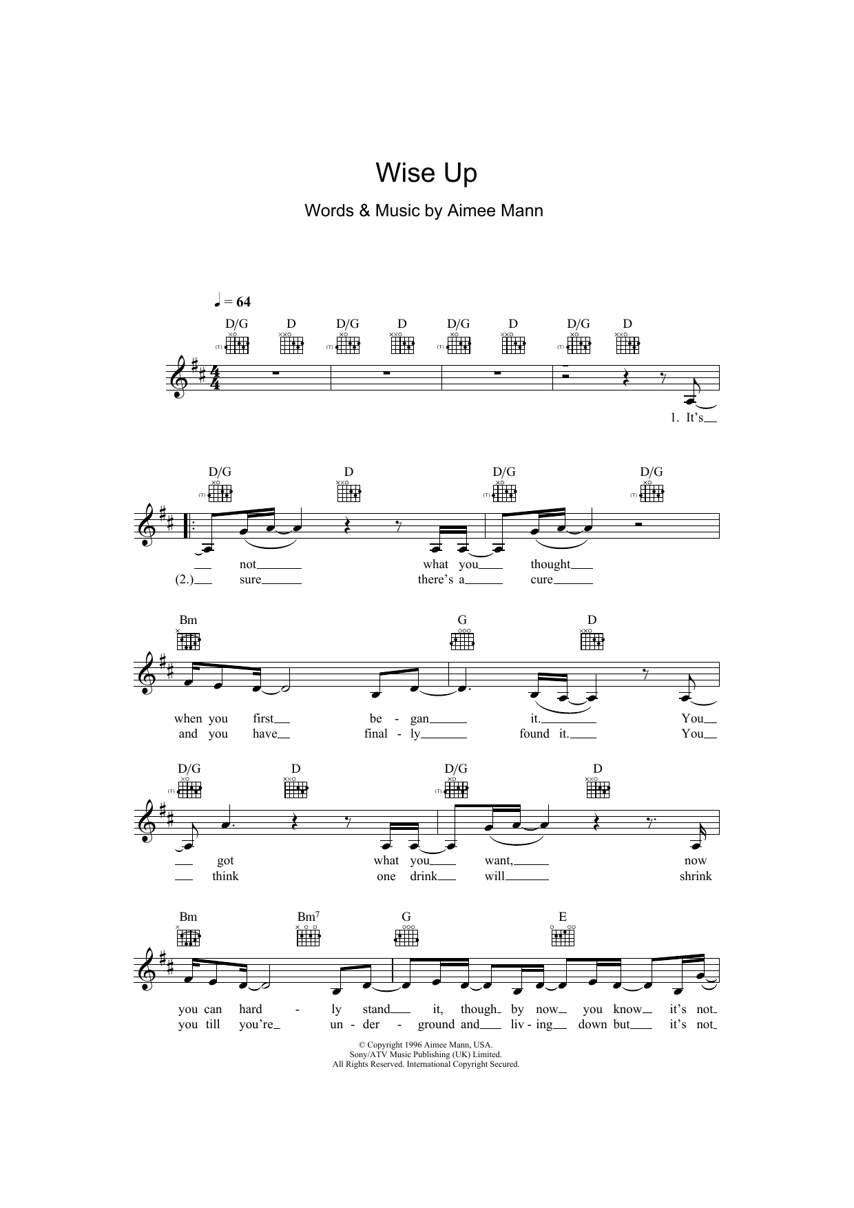 Wise Up (from Magnolia) Sheet Music