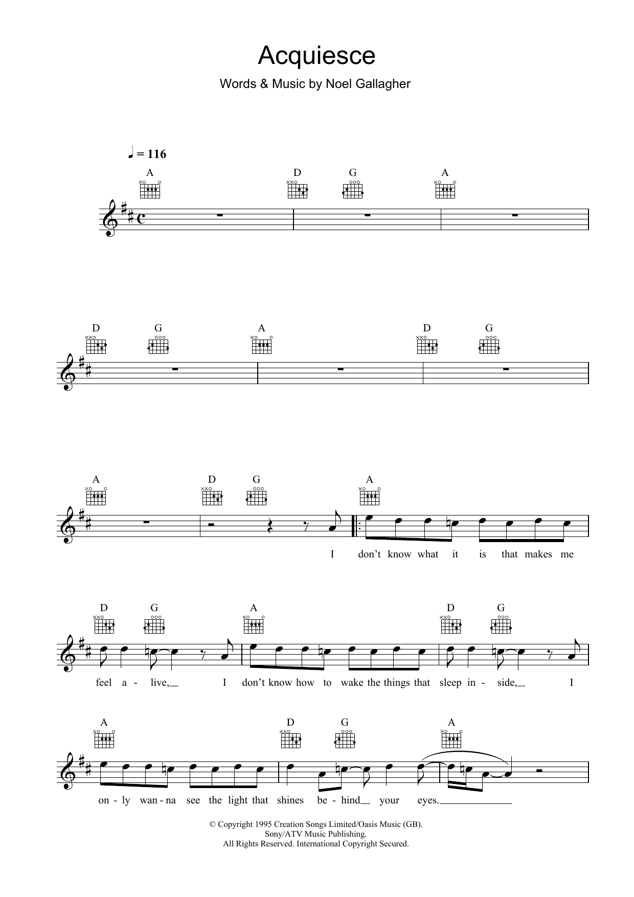 Acquiesce Sheet Music