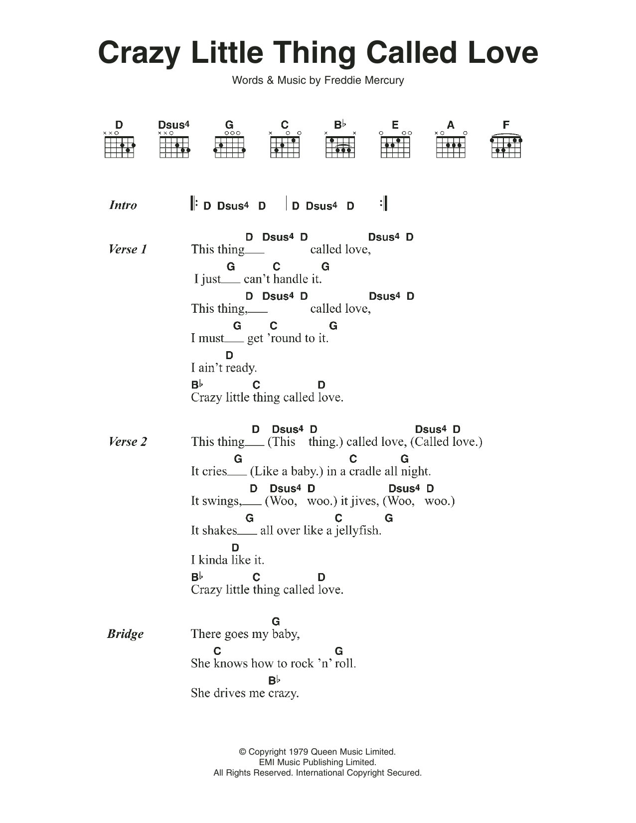 Crazy Little Thing Called Love Sheet Music Queen Lyrics Chords