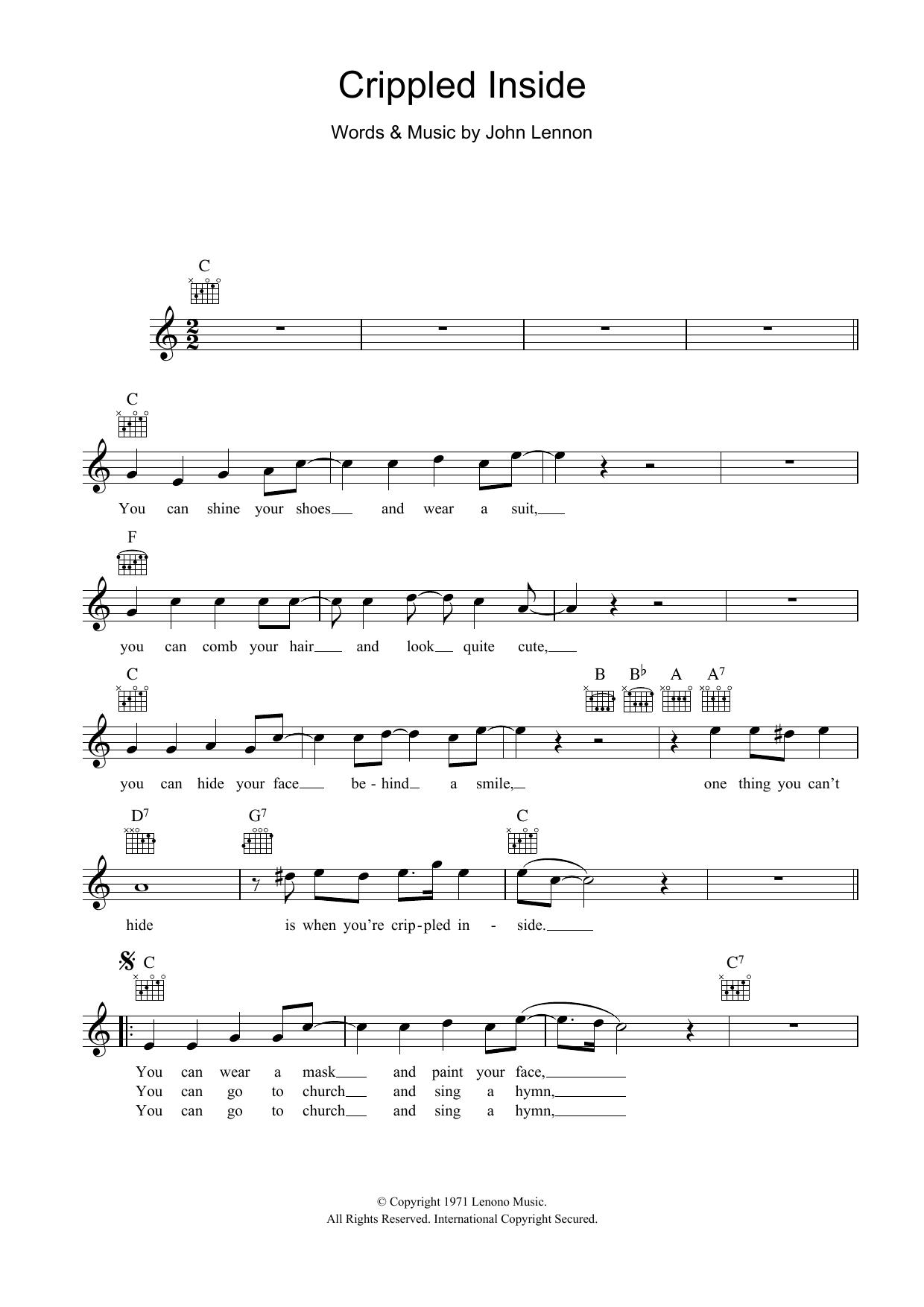Crippled Inside Sheet Music