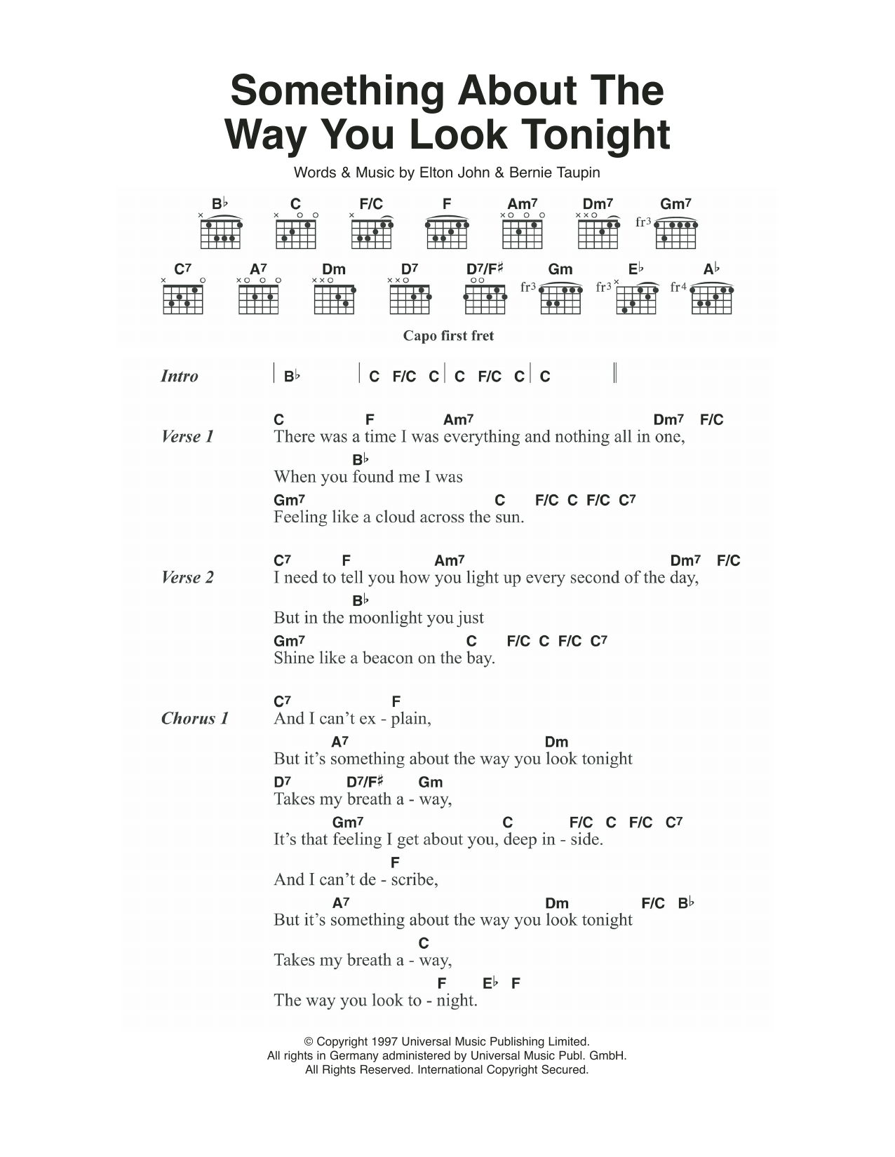 Something About The Way You Look Tonight By Elton John Guitar