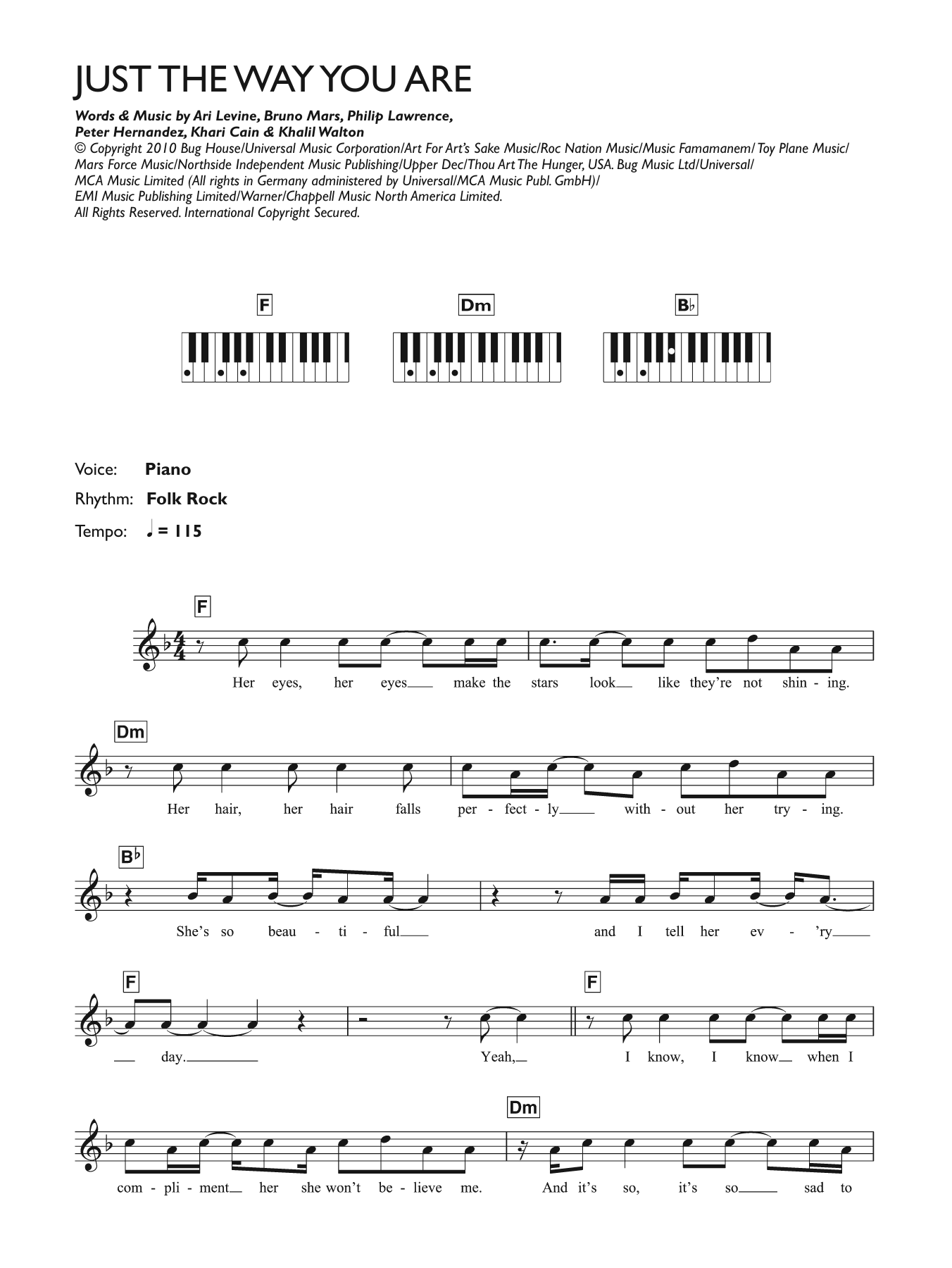 Just The Way You Are Sheet Music Bruno Mars Keyboard