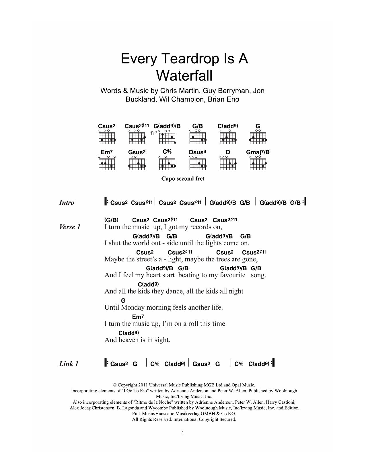 Every Teardrop Is A Waterfall by Coldplay Piano, Vocal & Guitar (Right-Hand  Melody) Digital Sheet Music