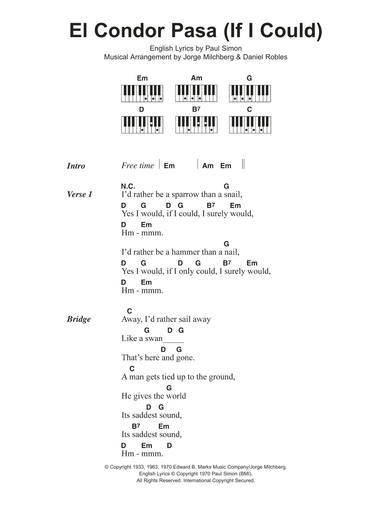 El Condor Pasa If I Could Sheet Music Simon Garfunkel Lyrics