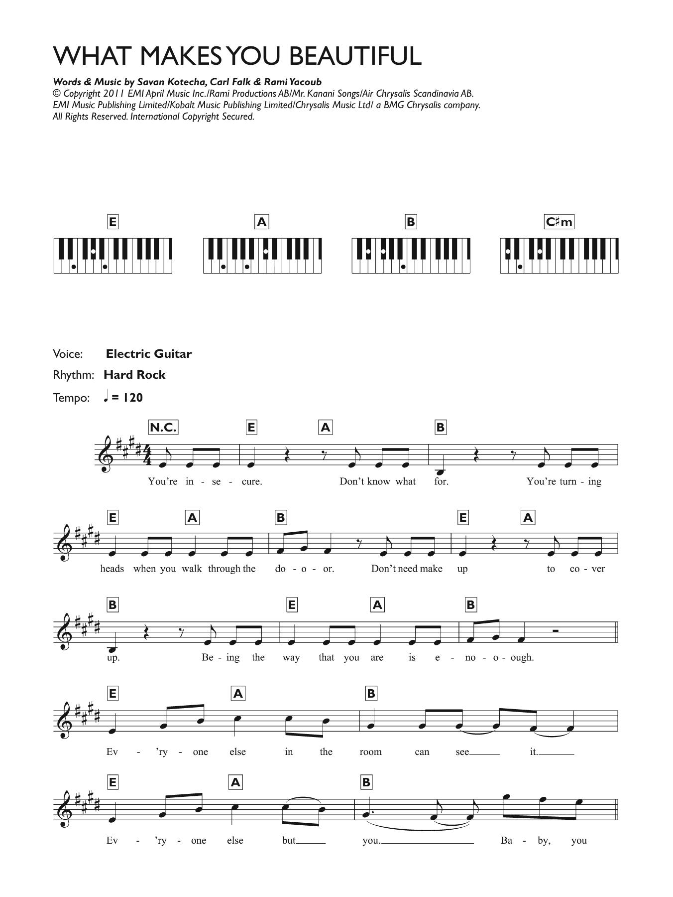 What Makes You Beautiful Sheet Music One Direction Keyboard