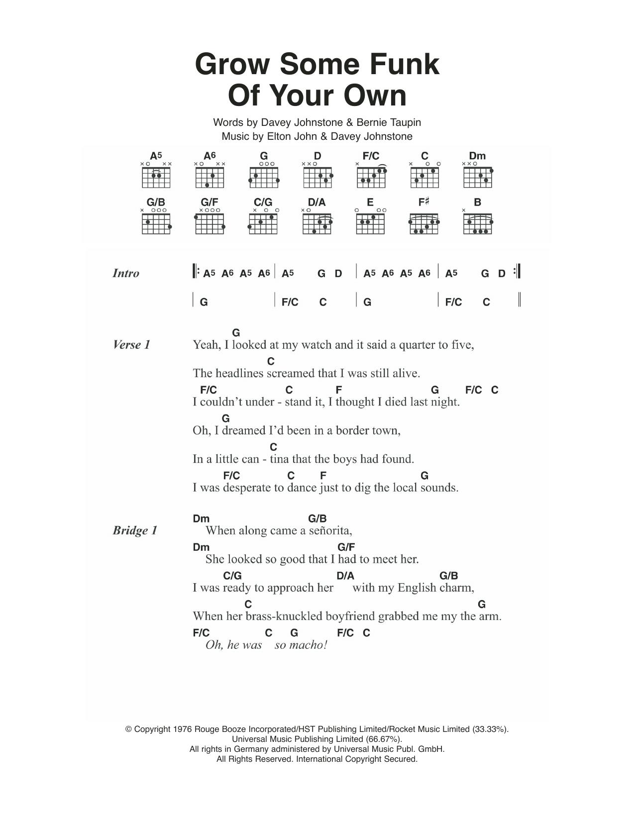 Grow Some Funk Of Your Own Sheet Music By Elton John Lyrics