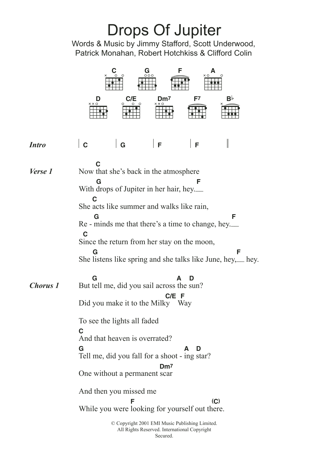 drops of jupiter tell me sheet music by train lyrics