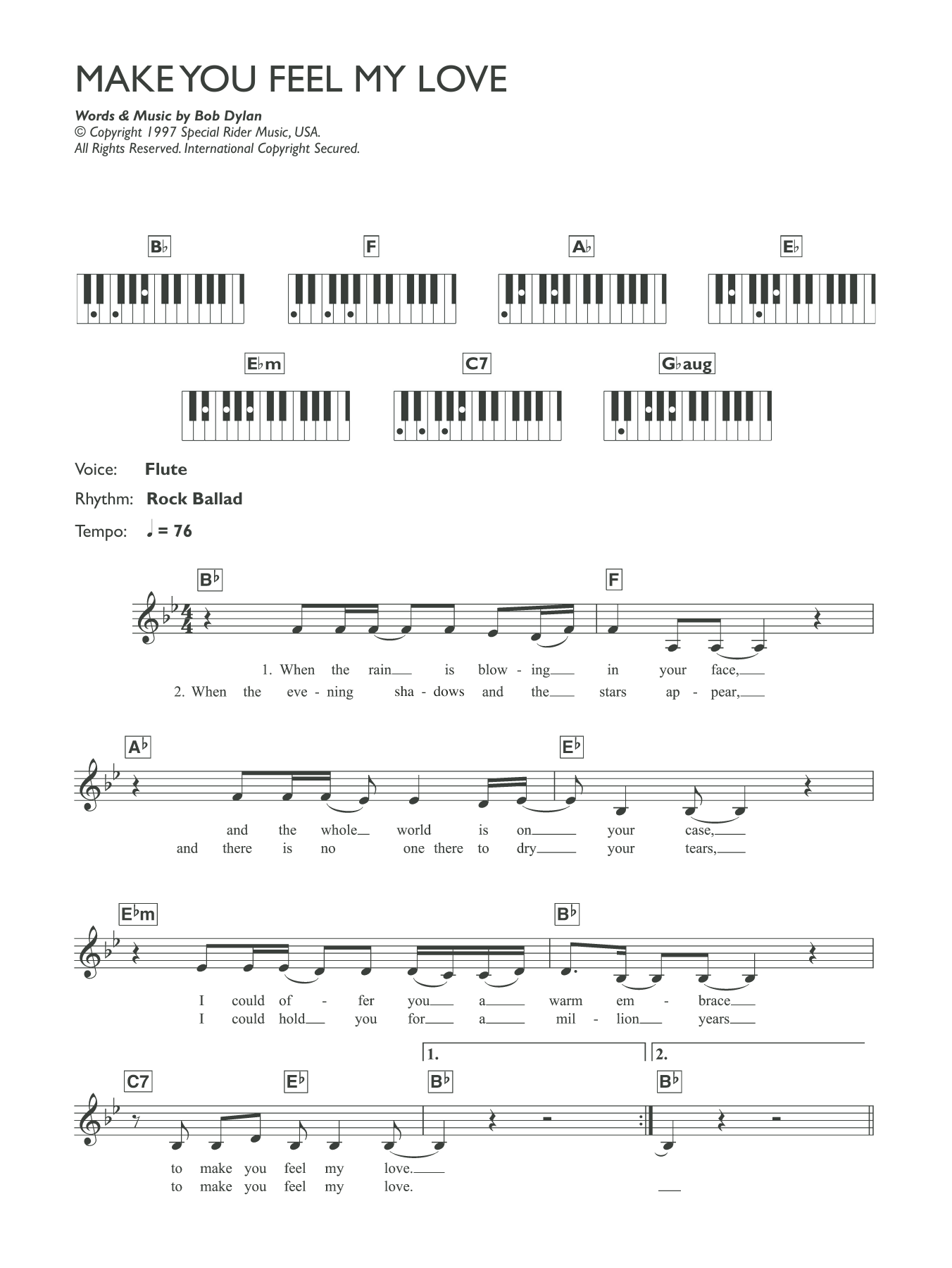 Make You Feel My Love Sheet Music