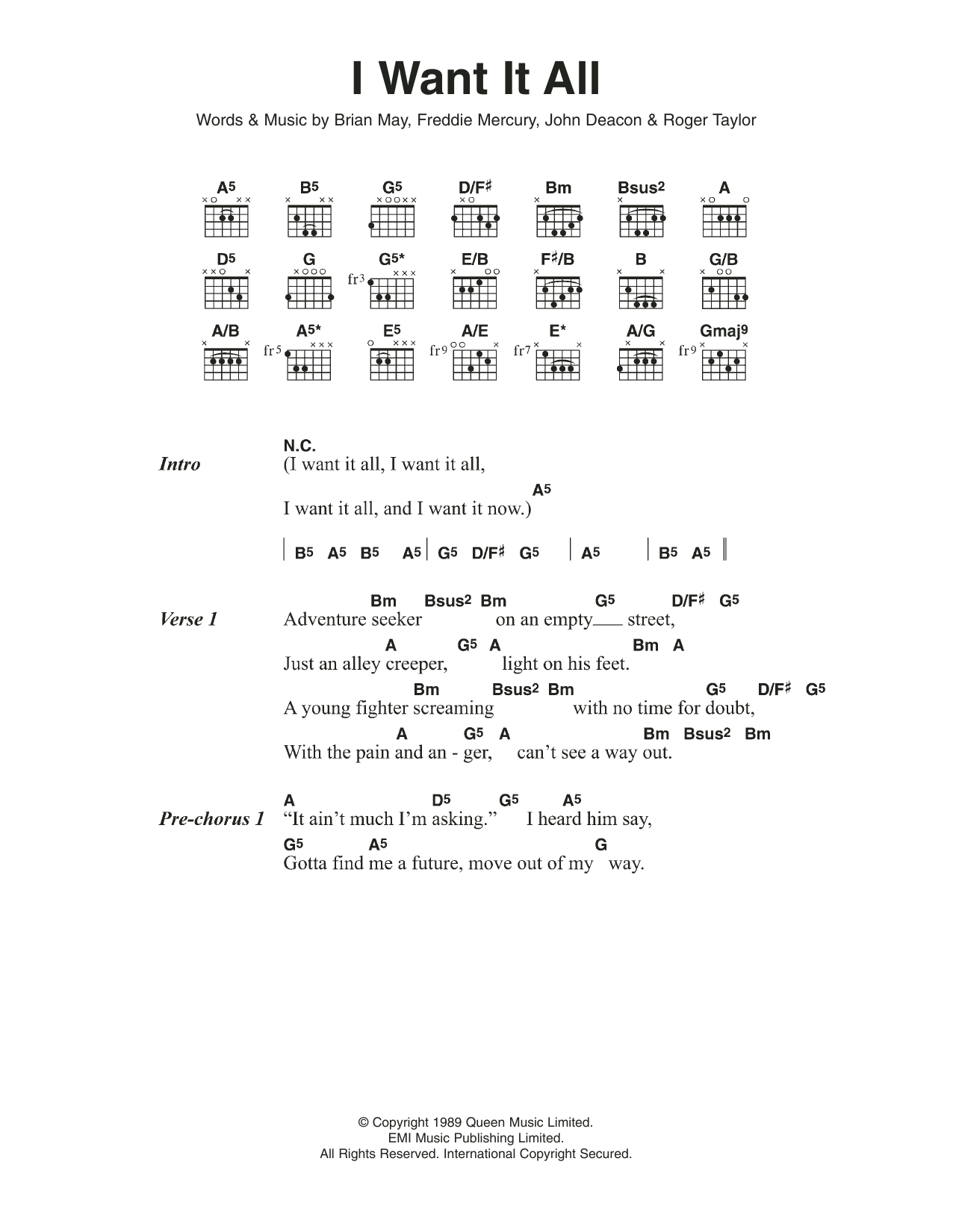 I Want It All by Queen   Guitar Chords/Lyrics   Guitar Instructor