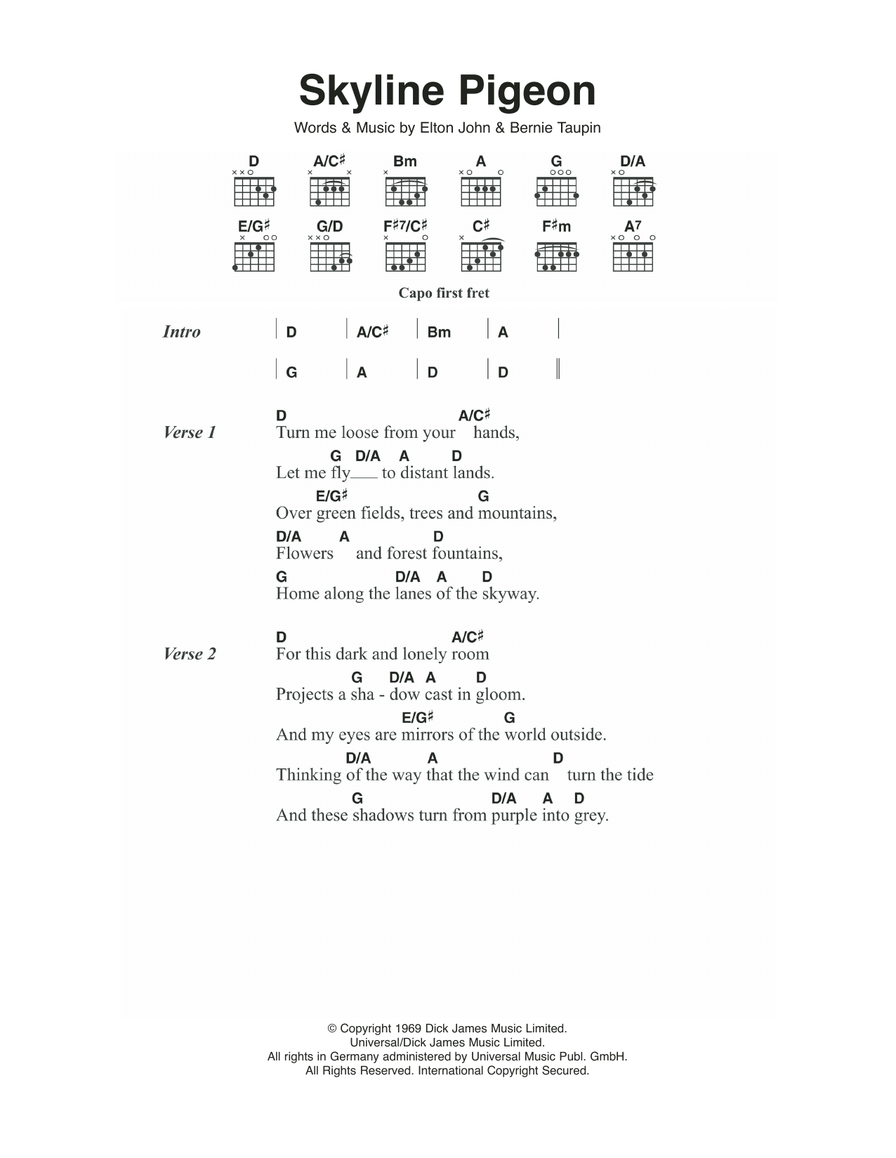 Skyline Pigeon by Elton John Guitar Chords/Lyrics Digital Sheet Music