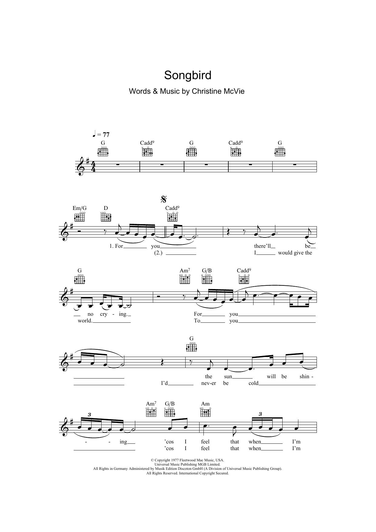 Songbird Sheet Music Eva Cassidy Melody Line Lyrics Chords