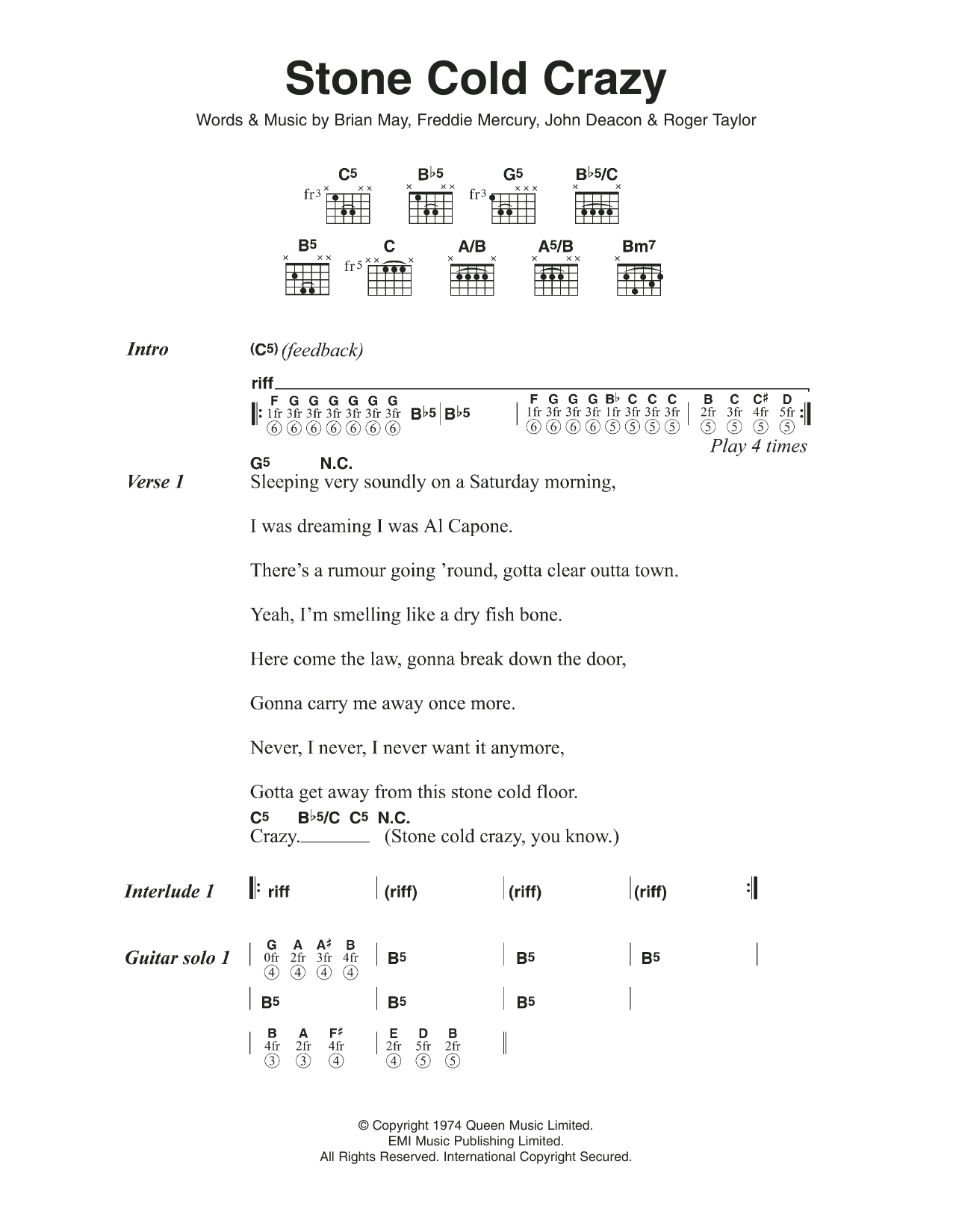 Stone Cold Crazy by Queen   Guitar Chords/Lyrics   Guitar Instructor