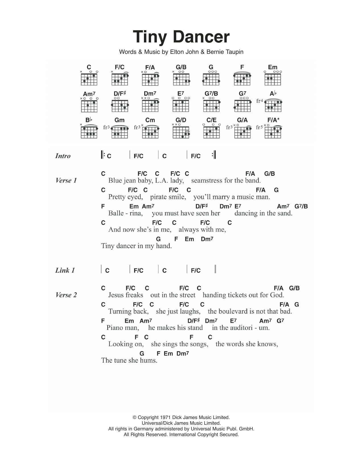 Tiny Dancer Sheet Music Elton John Lyrics Chords