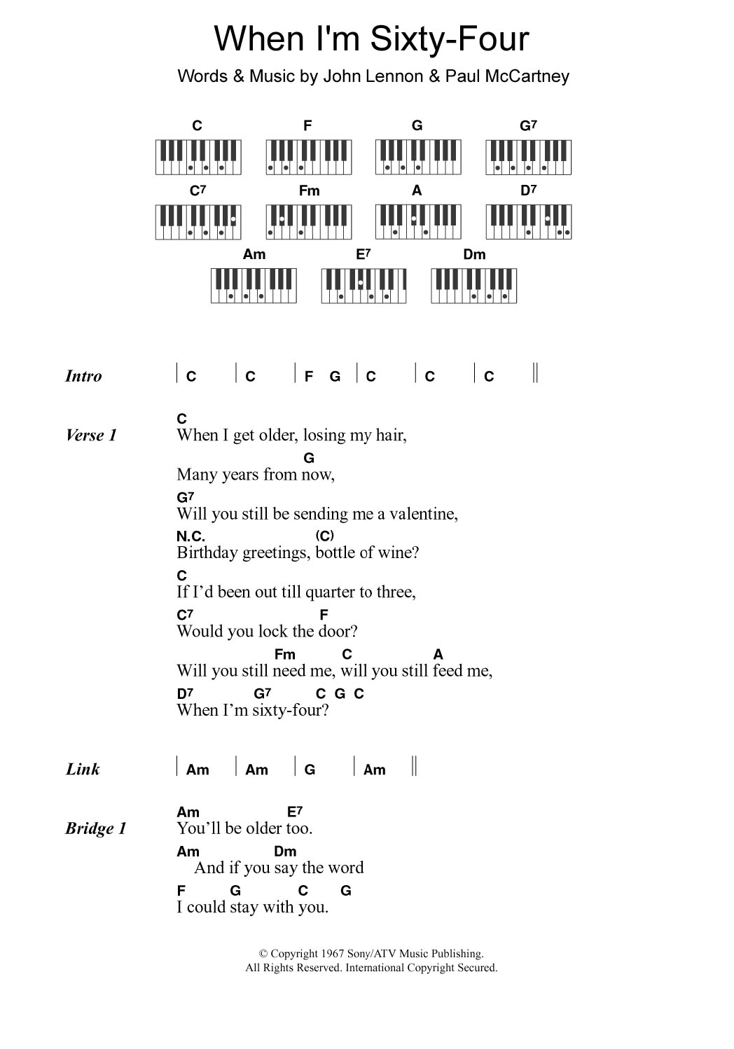 When I M Sixty Four Sheet Music The Beatles Piano Chords Lyrics