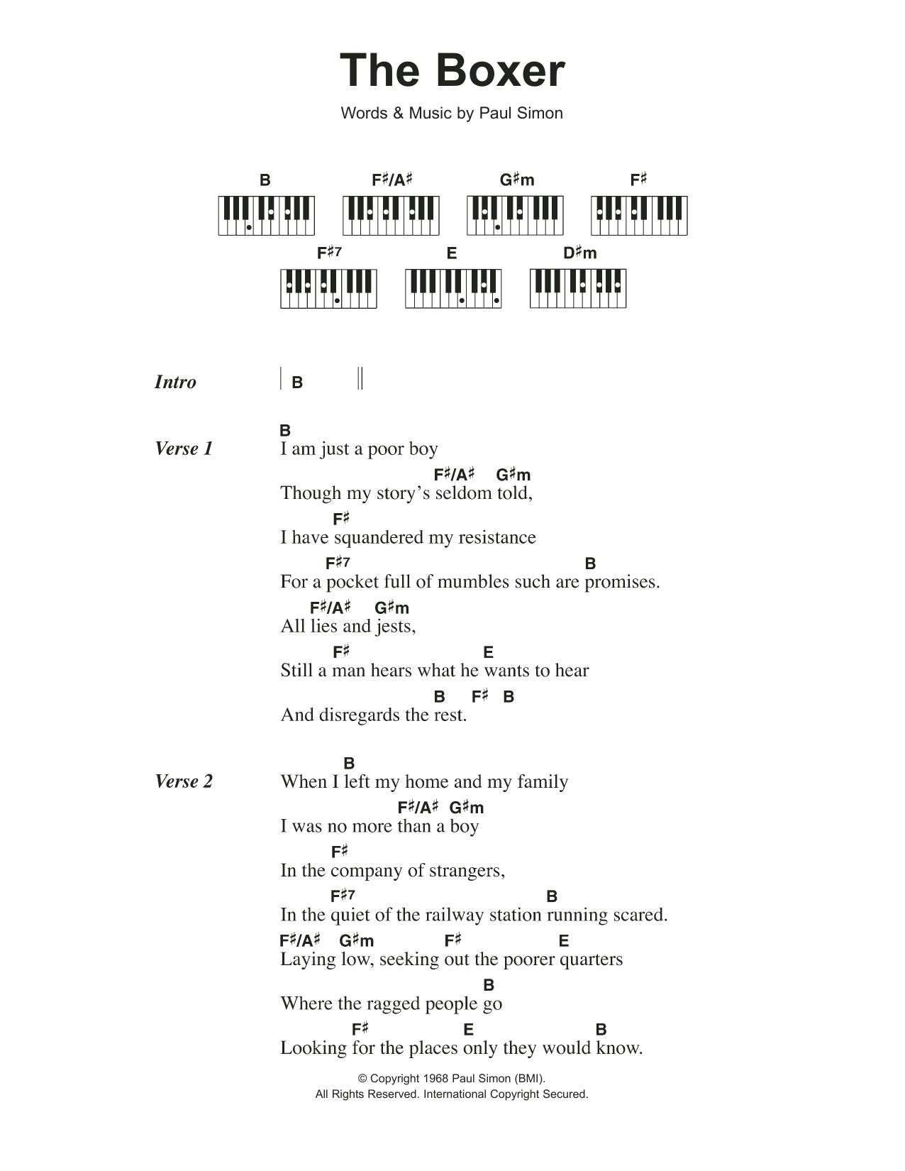 The Boxer Simon Garfunkel Lyrics Piano Chords