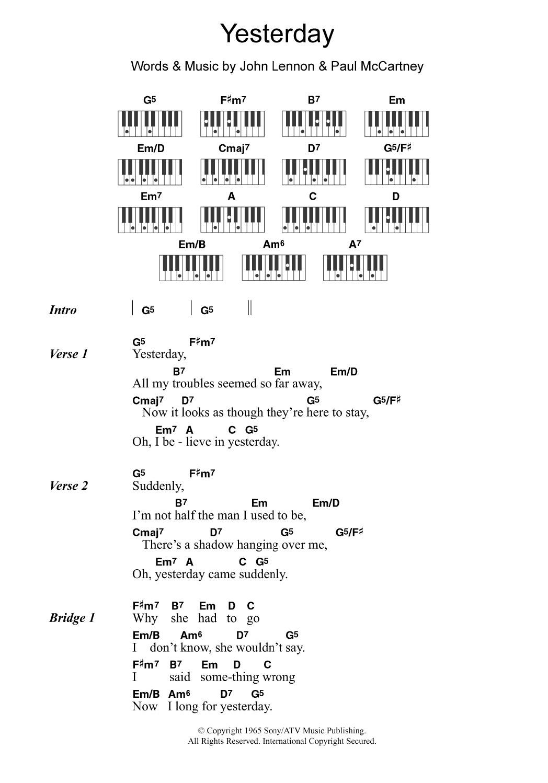 beatles lyrics yesterday - HD1048×1498