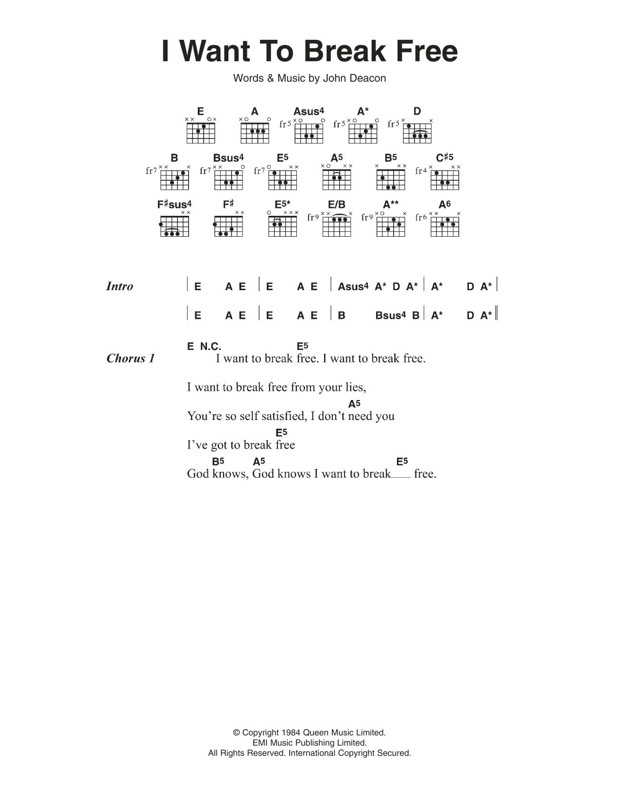 I Want To Break Free Sheet Music Queen Lyrics Chords