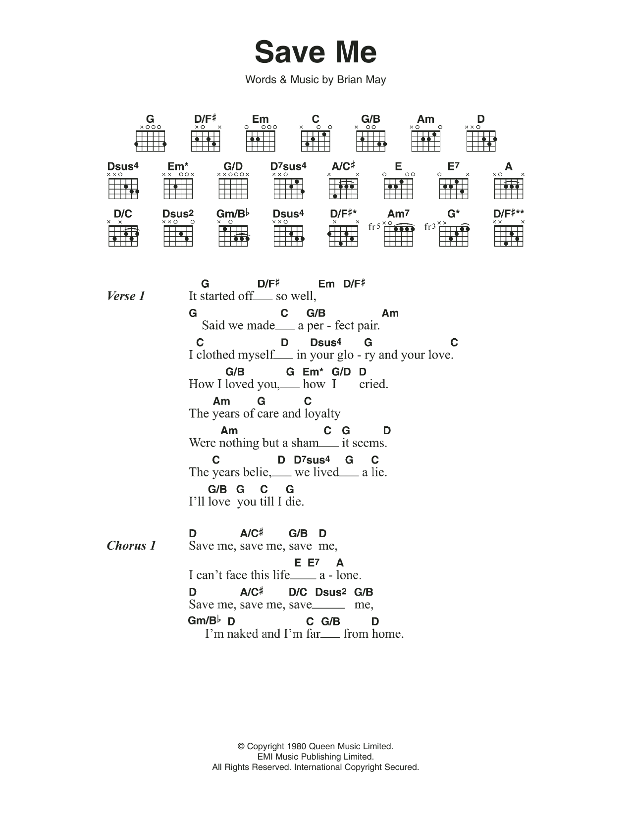Save Me Sheet Music Queen Lyrics Chords