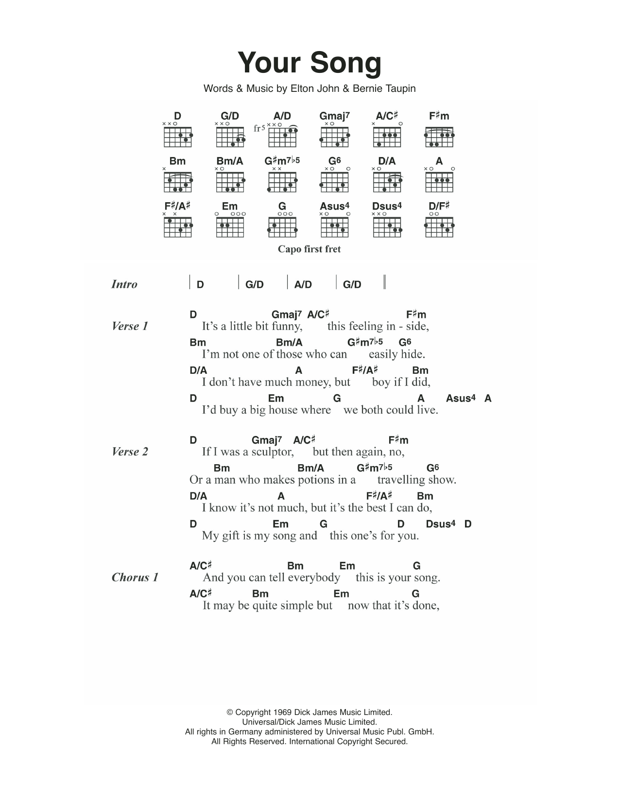 Your Song by Elton John - Guitar Chords/Lyrics - Guitar Instructor