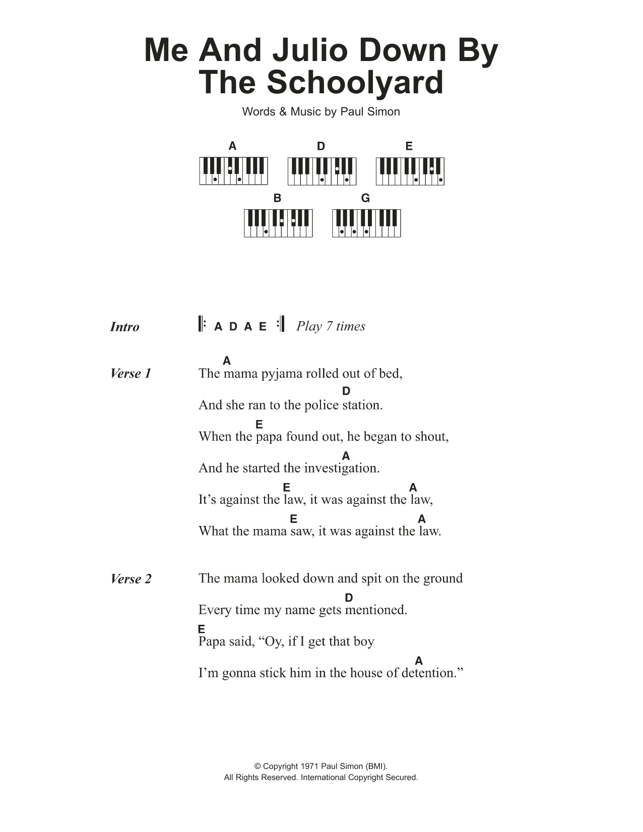 Me And Julio Down By The Schoolyard Sheet Music Paul Simon
