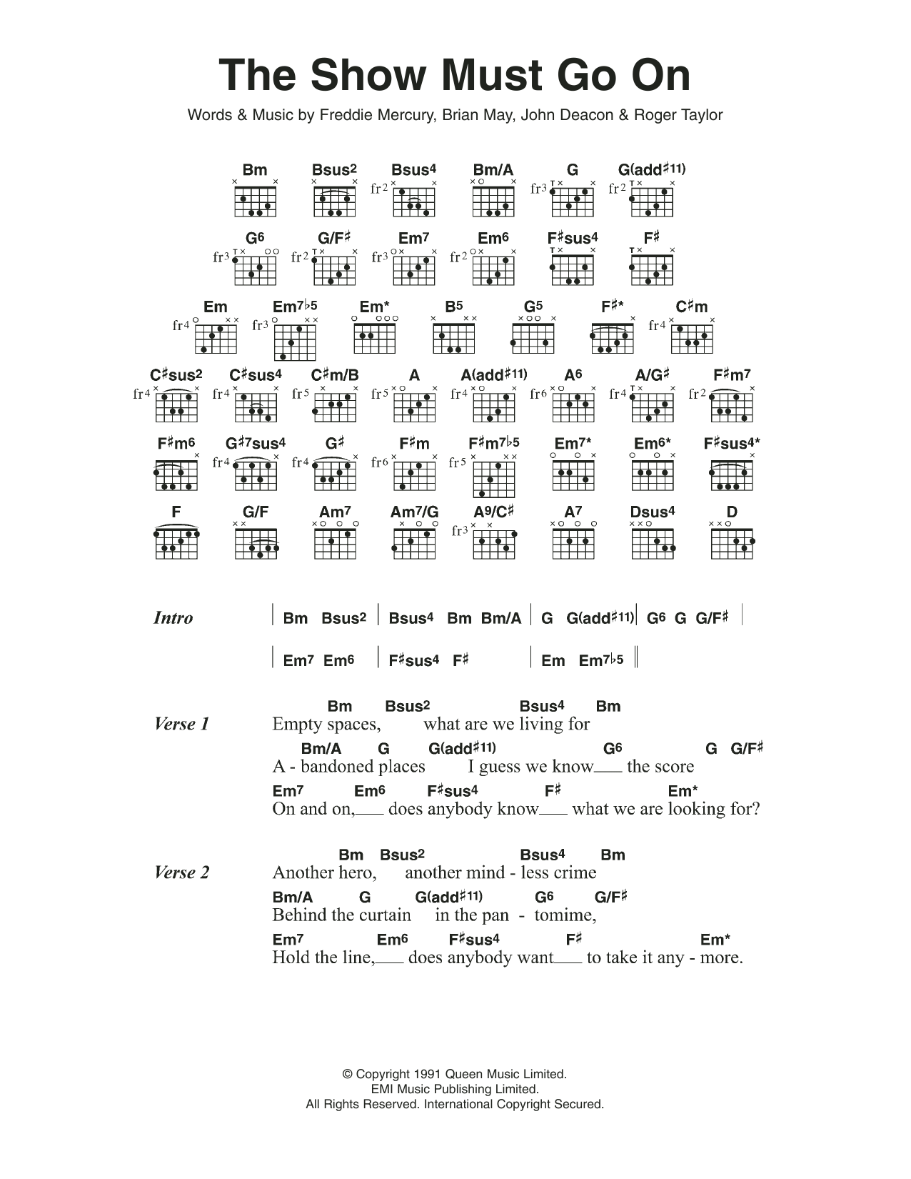 The Show Must Go On Sheet Music Queen Lyrics Chords