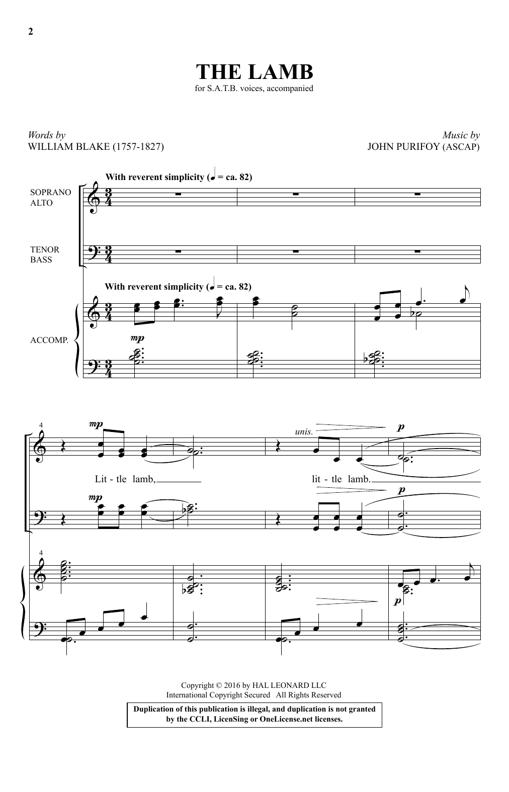 Partition chorale The Lamb de John Purifoy - SATB