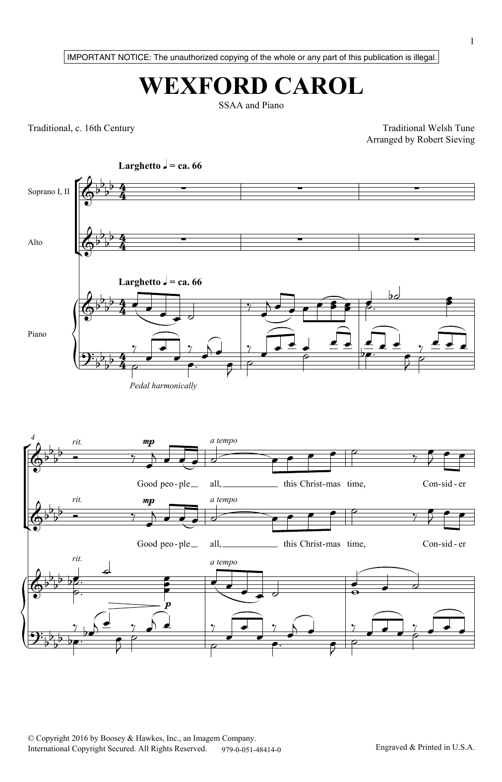 The Wexford Carol Sheet Music