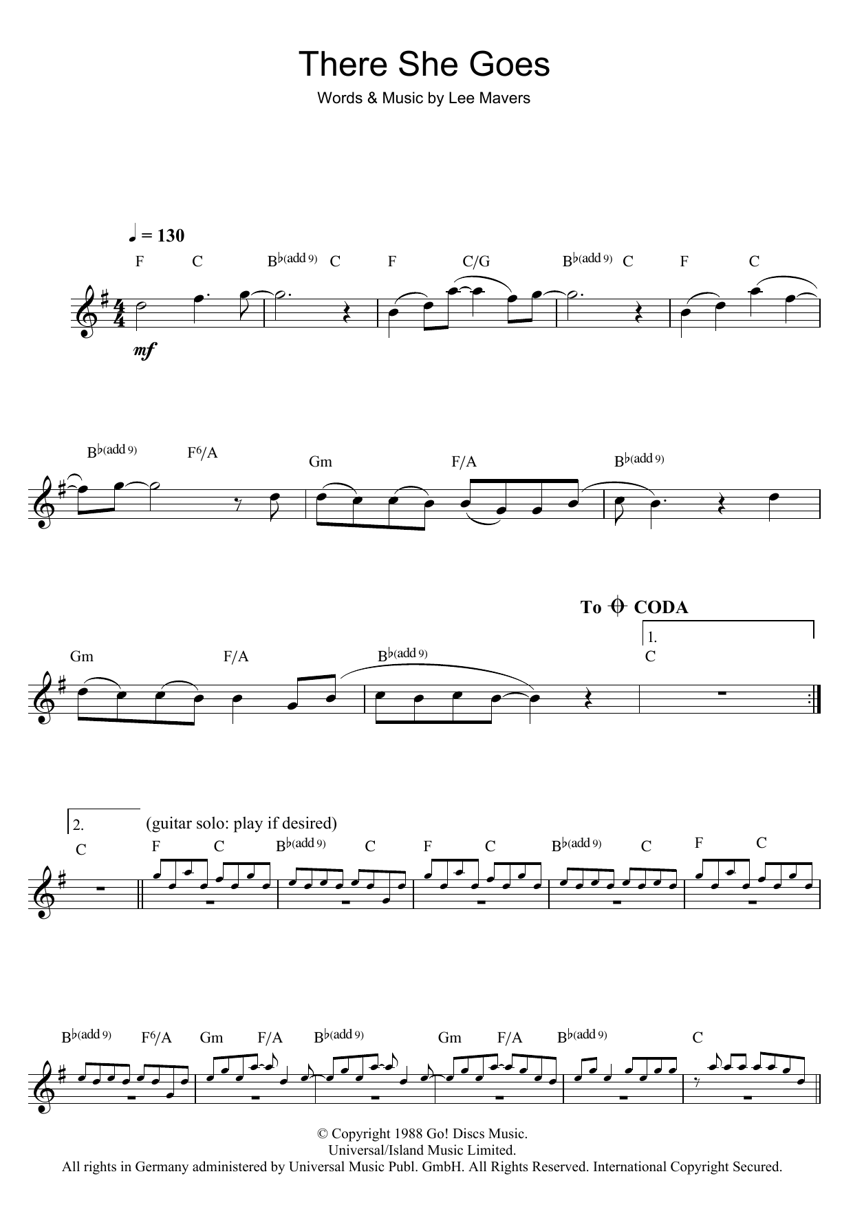 There She Goes Sheet Music By The Las Clarinet 47703
