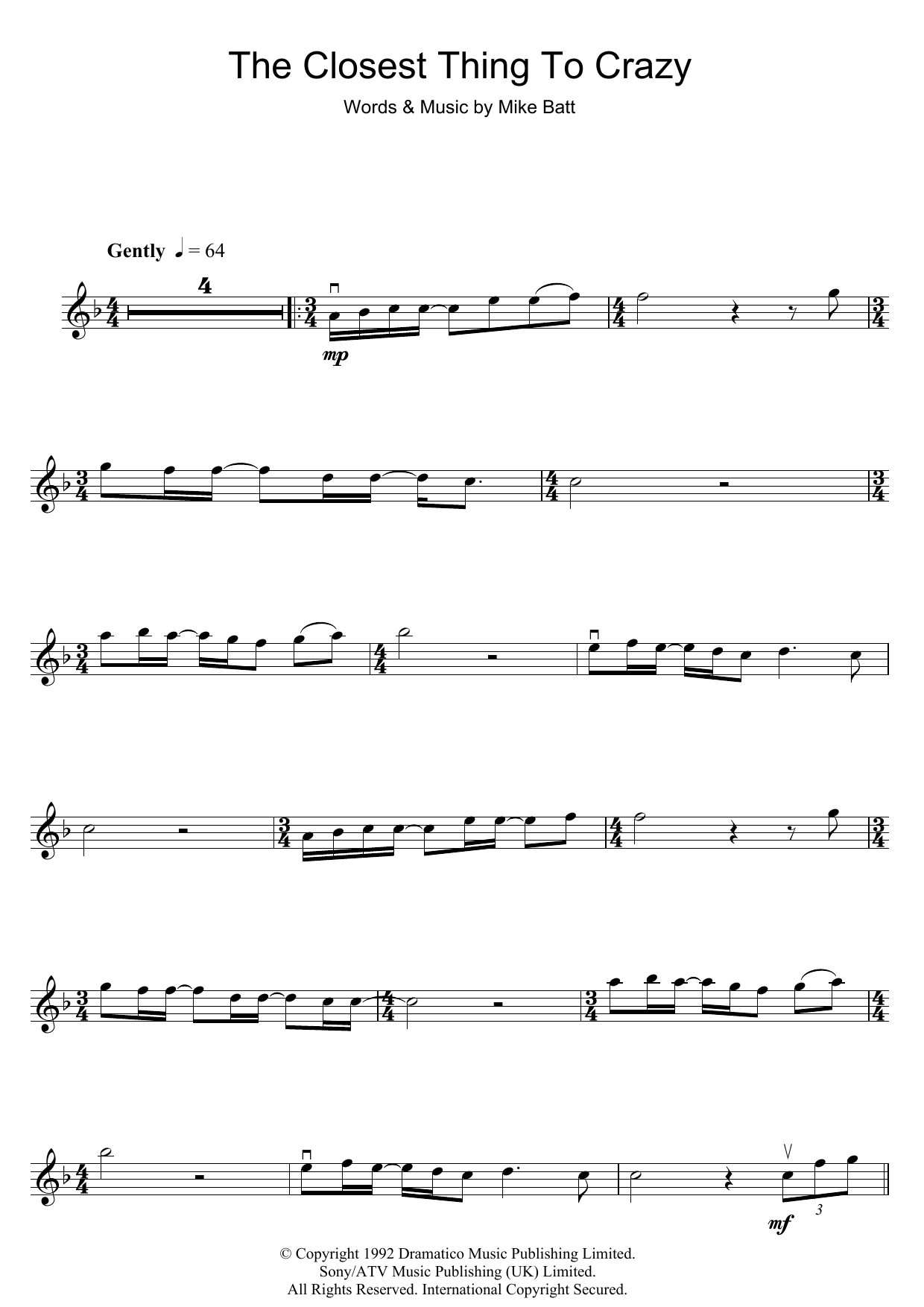 The Closest Thing To Crazy Sheet Music