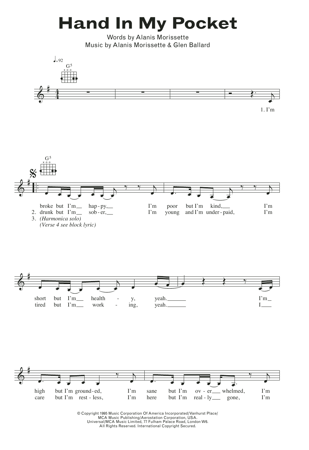 Hand In My Pocket Alanis Morissette Melody Line Lyrics Chords