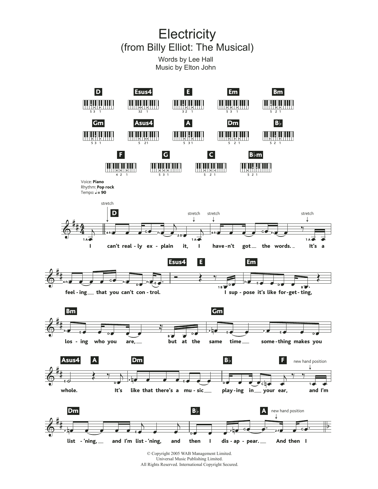 Electricity (from Billy Elliot: The Musical) | Sheet Music ...