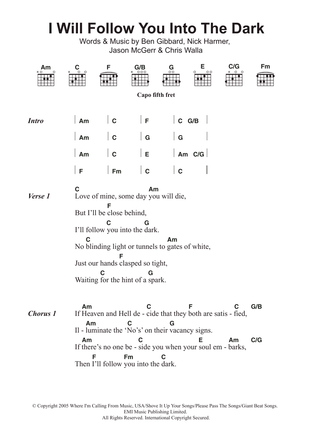 I Will Follow You Into The Dark by Death Cab For Cutie Piano, Vocal &  Guitar (Right-Hand Melody) Digital Sheet Music