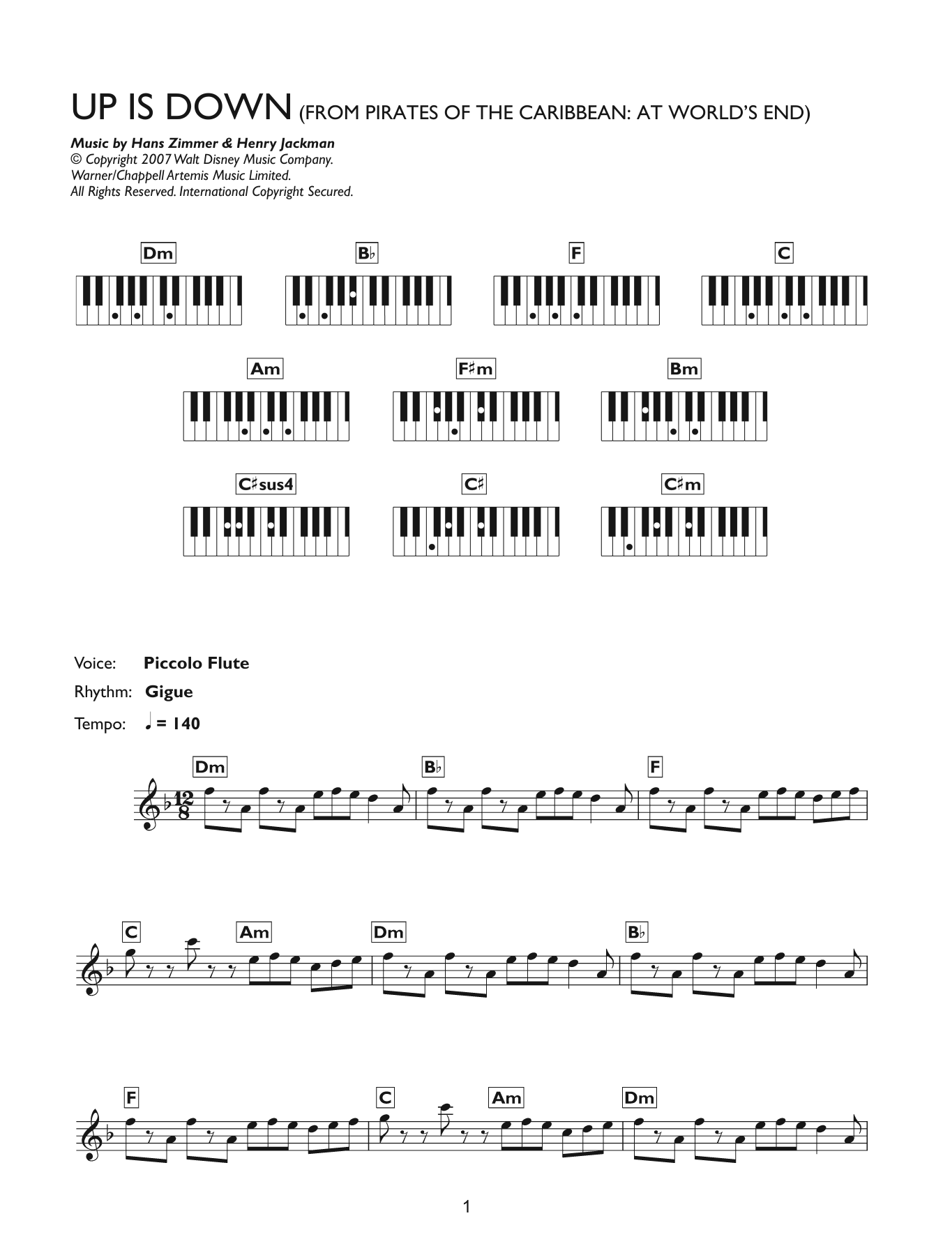 Up Is Down (from Pirates Of The Caribbean: At World's End) (Piano Chords/Lyrics)