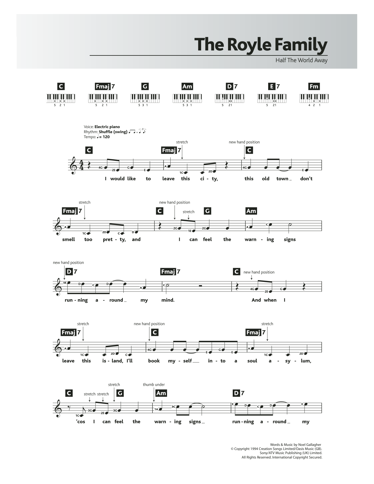 Half The World Away by Oasis Piano, Vocal & Guitar (Right-Hand Melody)  Digital Sheet Music