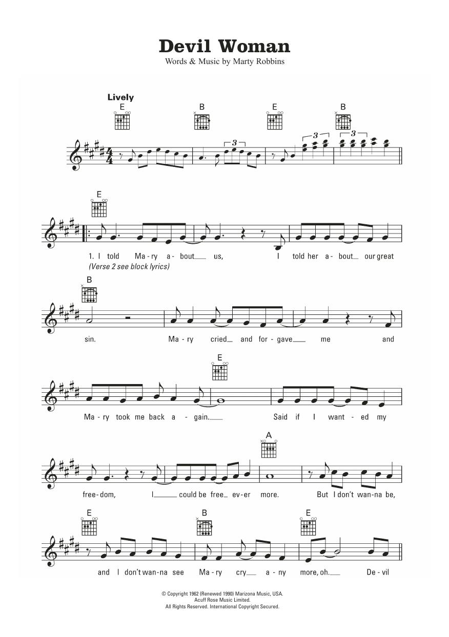 Devil Woman Marty Robbins Melody Line Lyrics Chords