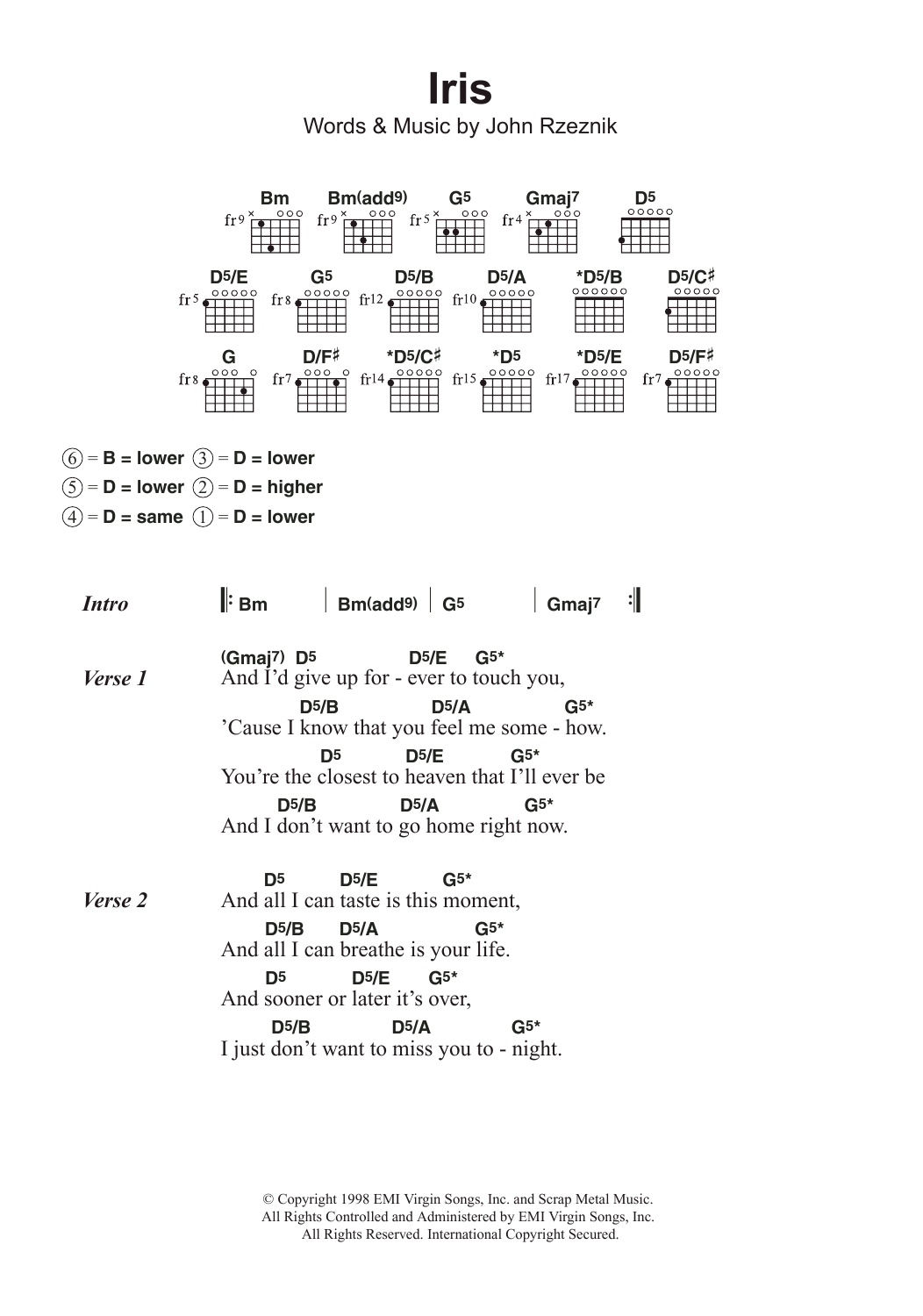 Iris Sheet Music Goo Goo Dolls Lyrics Chords