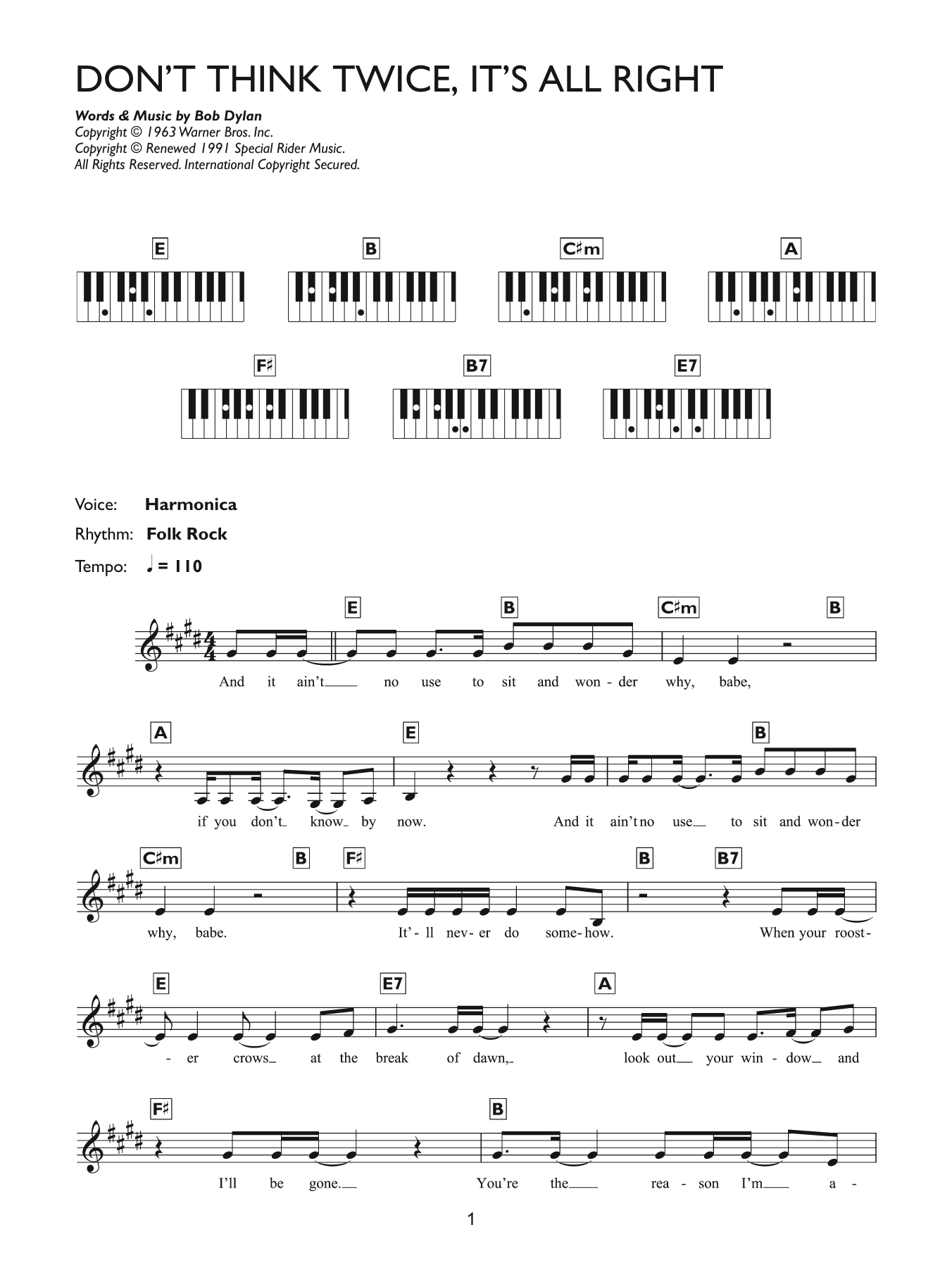Dont Think Twice Its All Right Sheet Music Bob Dylan Keyboard