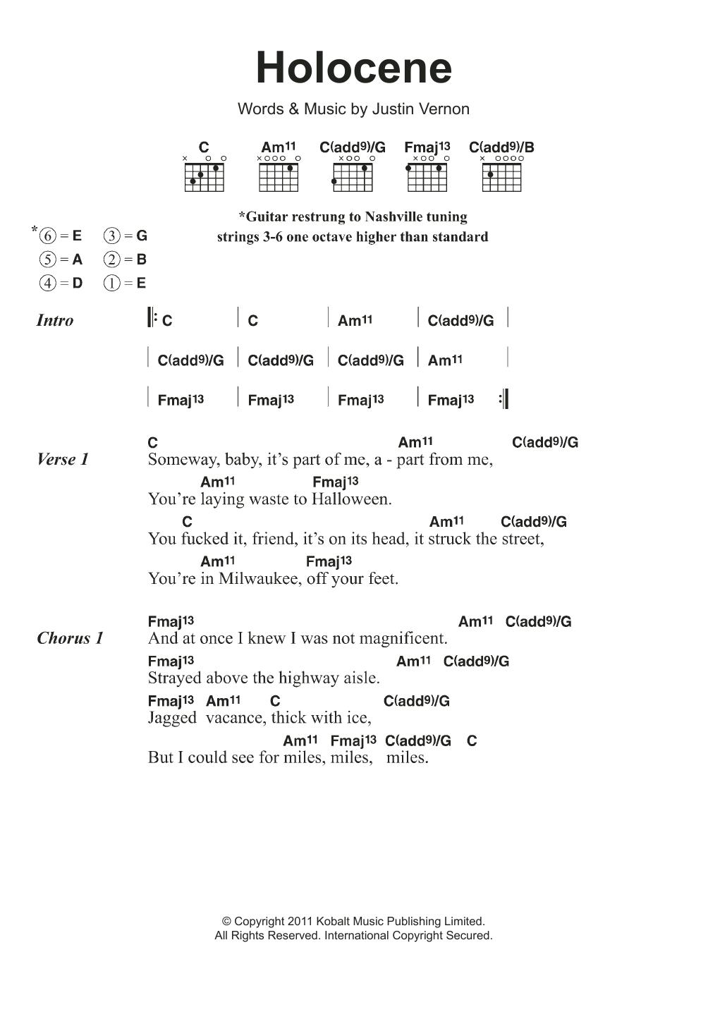 Sheet Music Digital Files To Print   Licensed Justin Vernon ...