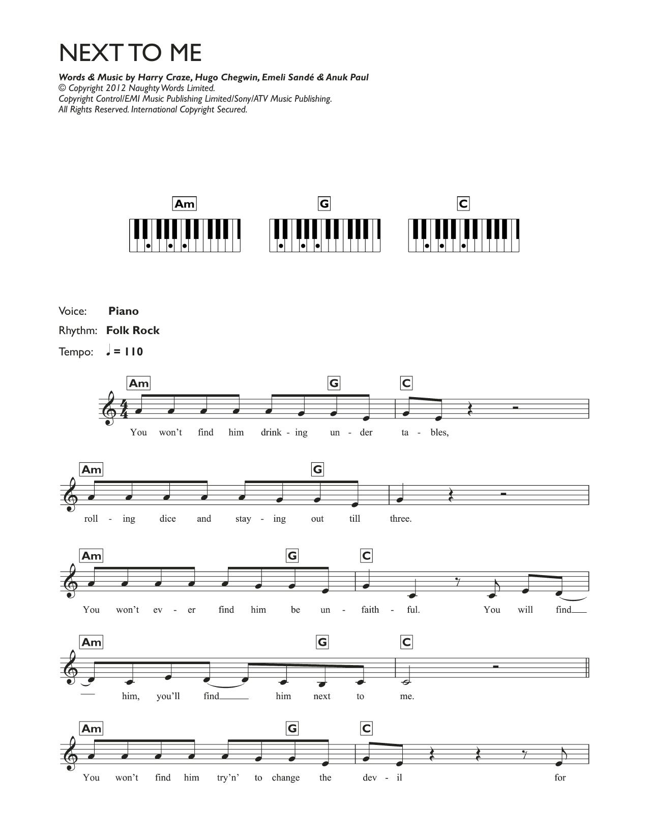 Next To Me (Next To You) Sheet Music