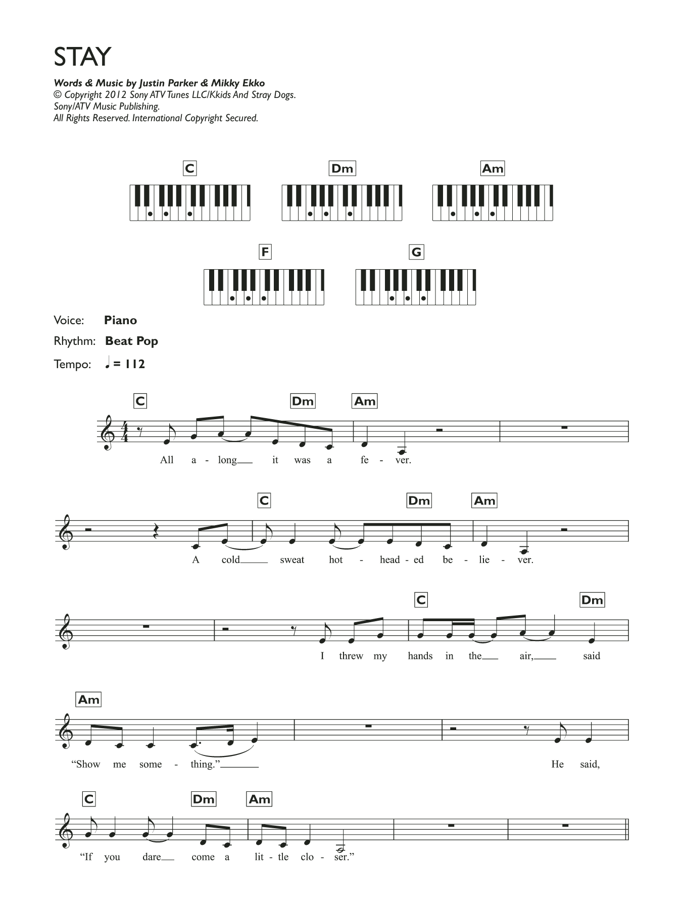 Stay Sheet Music   Rihanna   Piano Chords/Lyrics