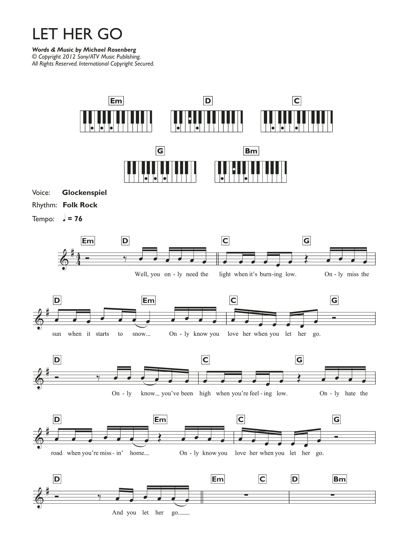 Let Her Go Sheet Music Passenger Keyboard