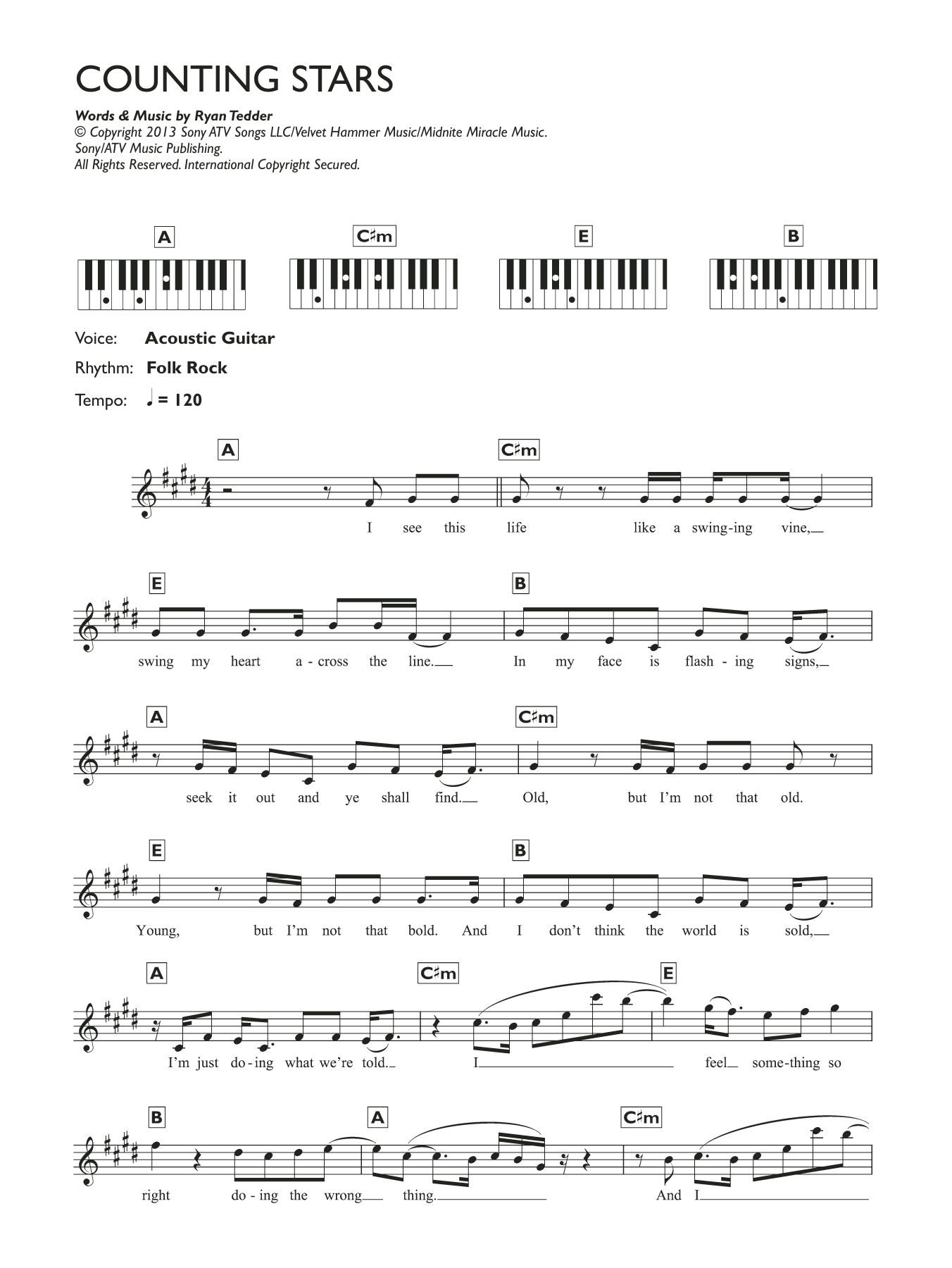 Counting stars sheet music direct counting stars 099 hexwebz Images