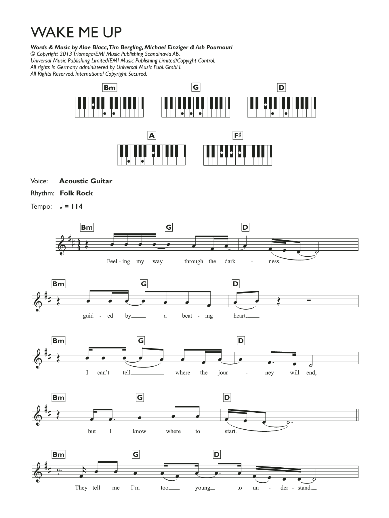 Wake Me Up Sheet Music Avicii Keyboard