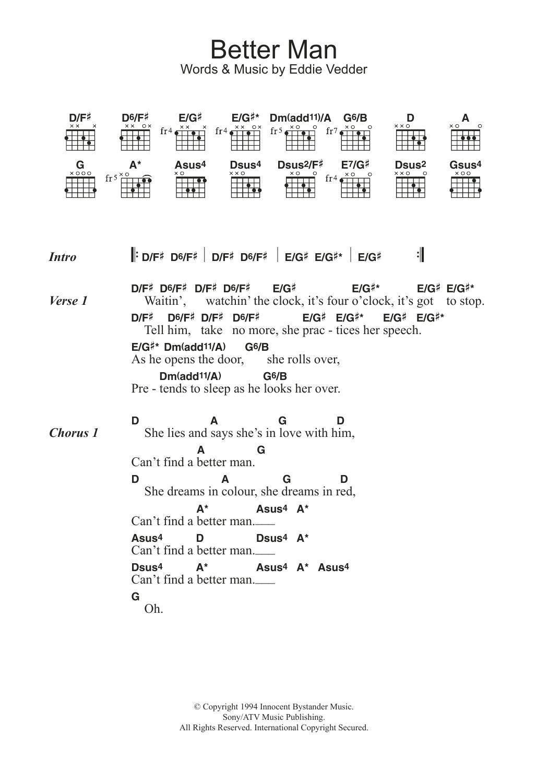 Better Man By Pearl Jam Guitar Chordslyrics Guitar Instructor