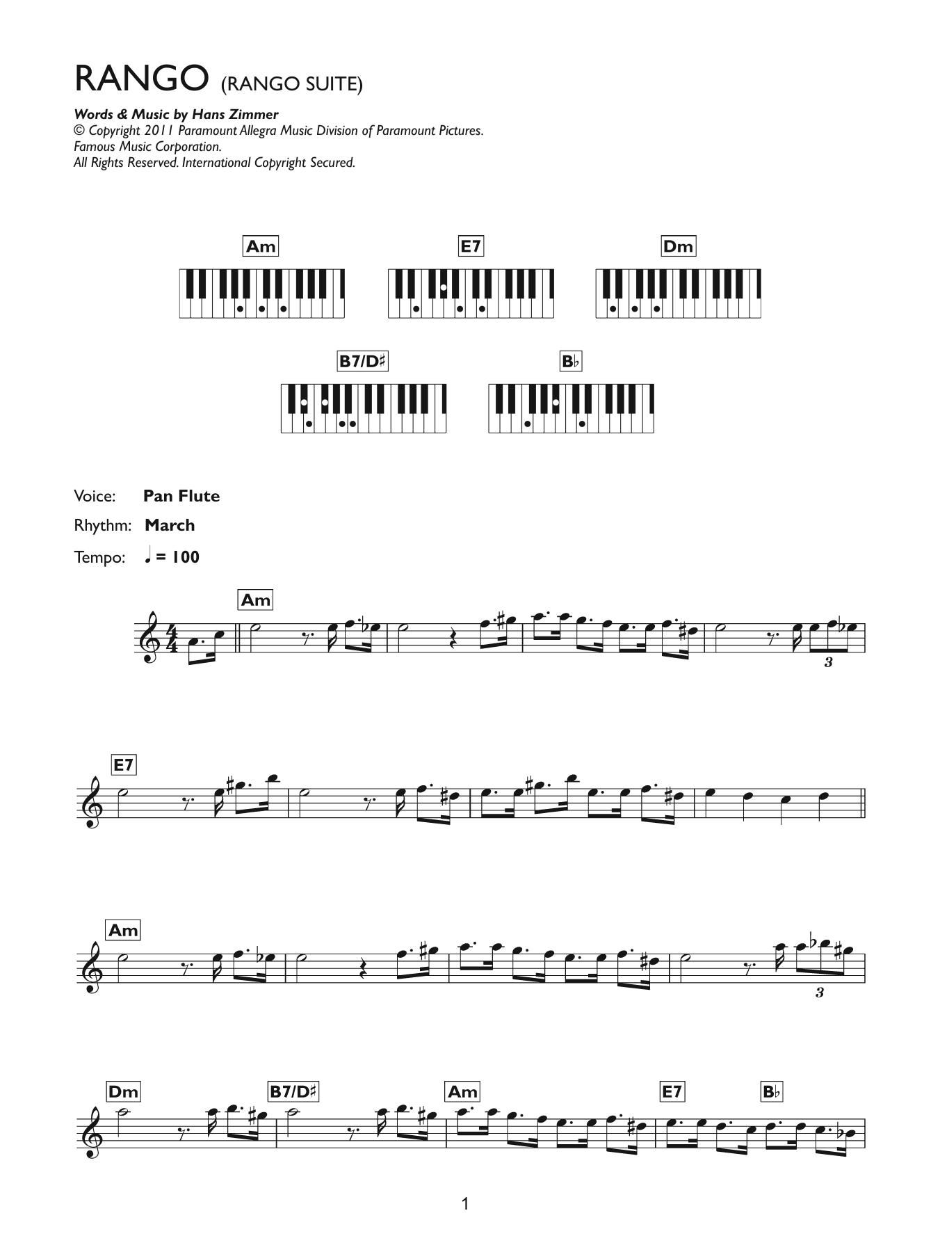 Rango Suite (Piano Chords/Lyrics)